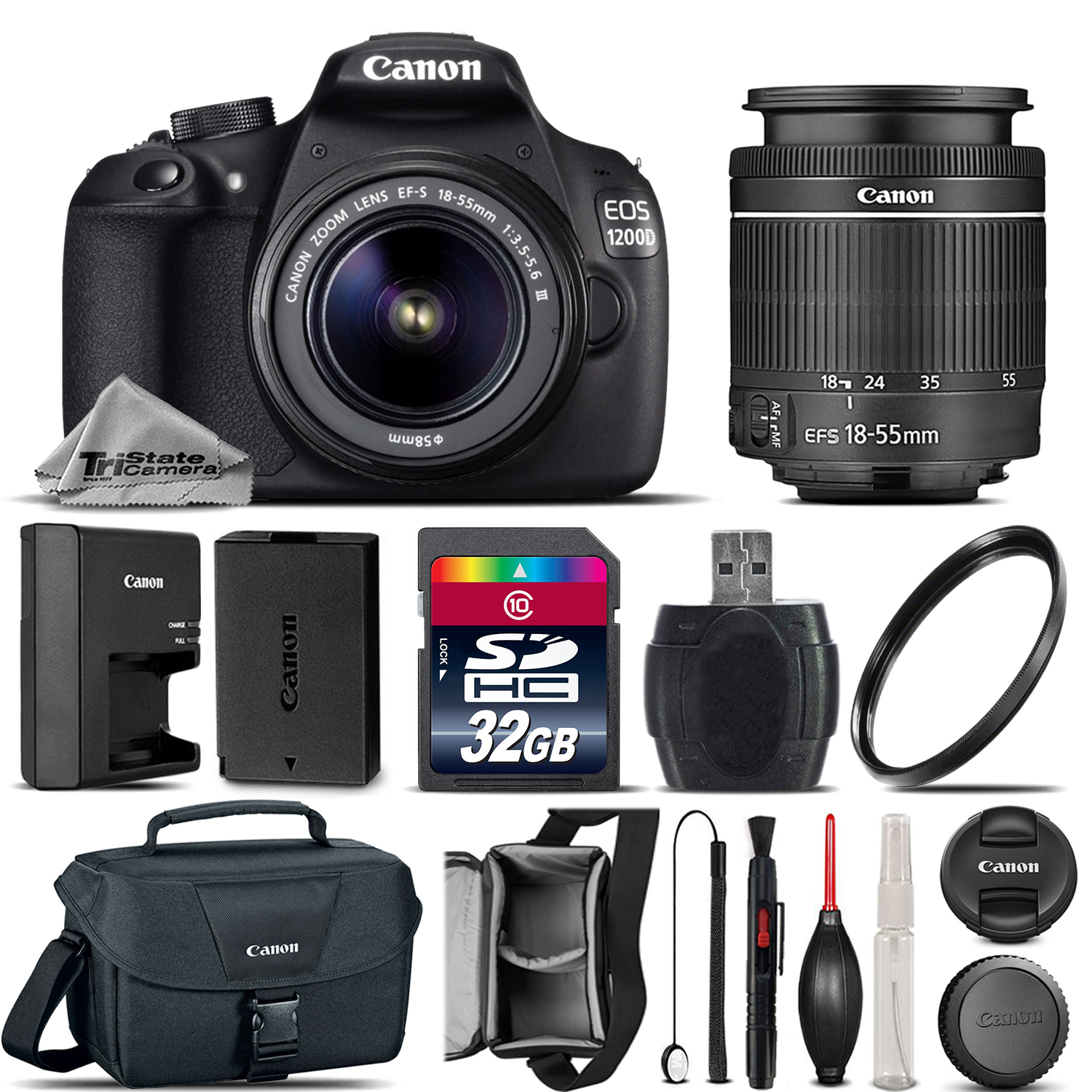 EOS Rebel 1200D /T5 Camera + 18-55mm DC III Lens + Canon Case - 32GB Kit *FREE SHIPPING*