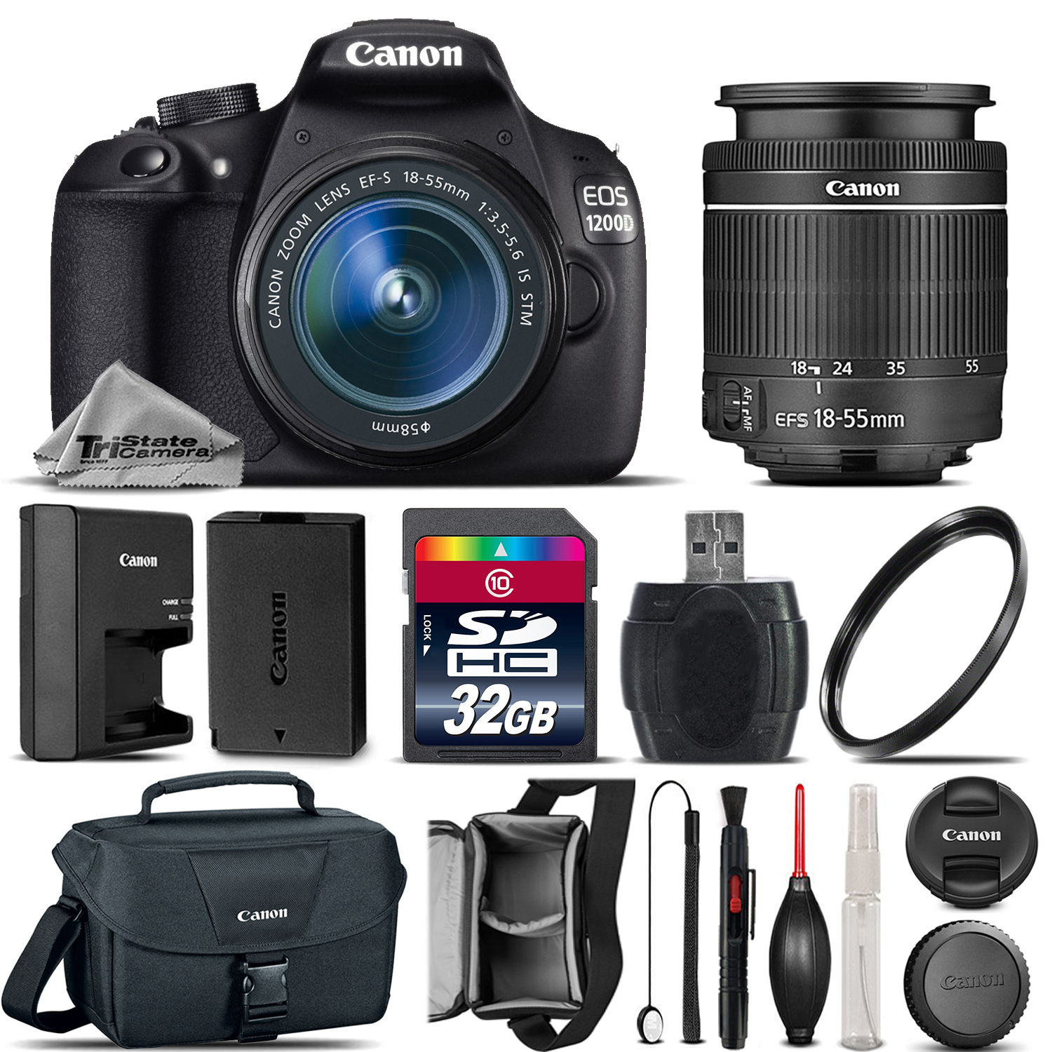 Tri State Camera Video And Computer Accessories Canon Eos 100d Kit 18 55 Is Stm 100 D Rebel 1200d T5 55mm Lens Case 32gb Free Shipping