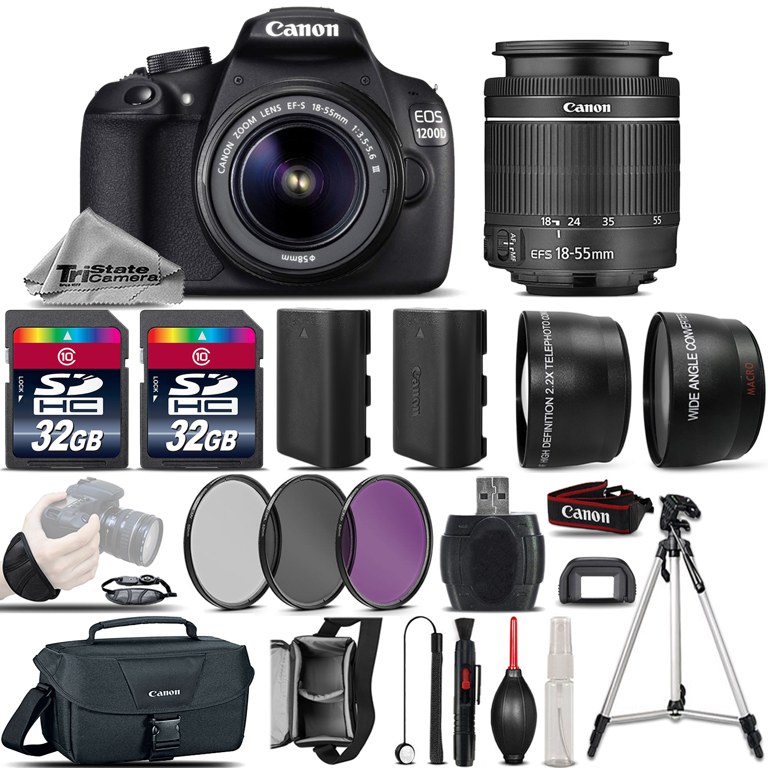 EOS Rebel 1200D /T5 Camera + 18-55mm DC III Lens + 64GB + EXT BATT & More *FREE SHIPPING*