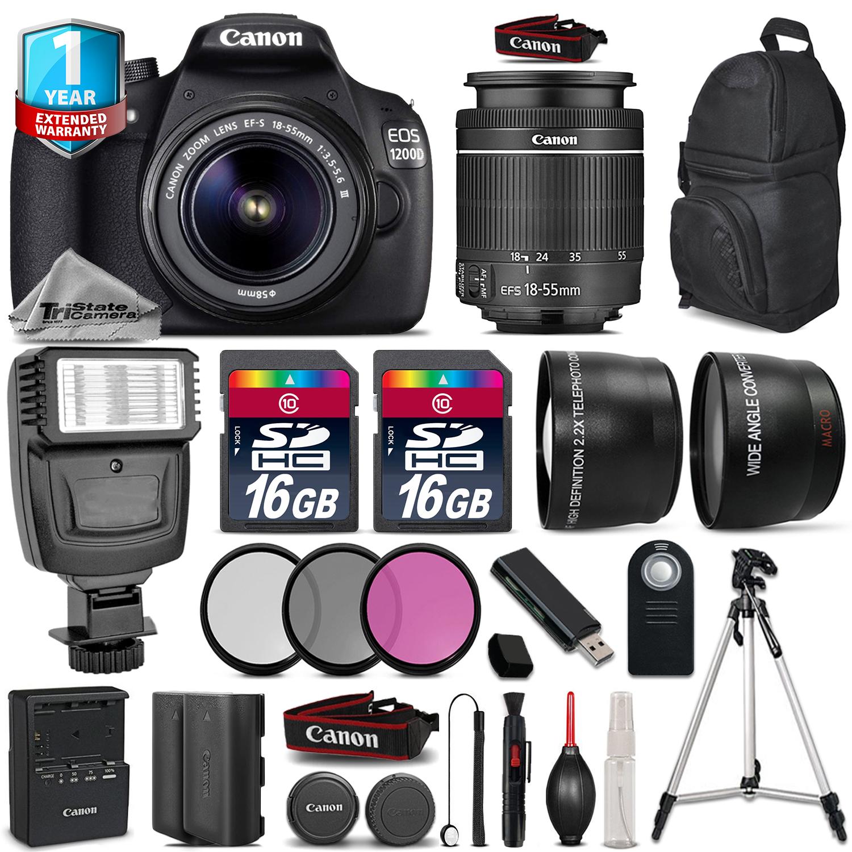 EOS Rebel 1200D Camera + 18-55mm DC III + Flash + EXT BATT + 1yr Warranty *FREE SHIPPING*