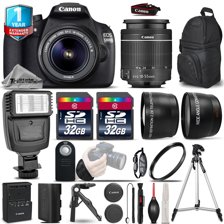 EOS Rebel 1200D Camera + 18-55mm DC III -3 Lens Kit + Flash +1yr Warranty *FREE SHIPPING*