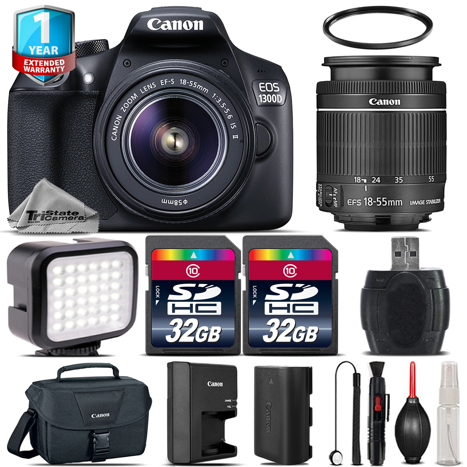 EOS Rebel 1300D / T6 DSLR Camera + 18-55mm IS + LED + 64GB +1yr Warranty *FREE SHIPPING*