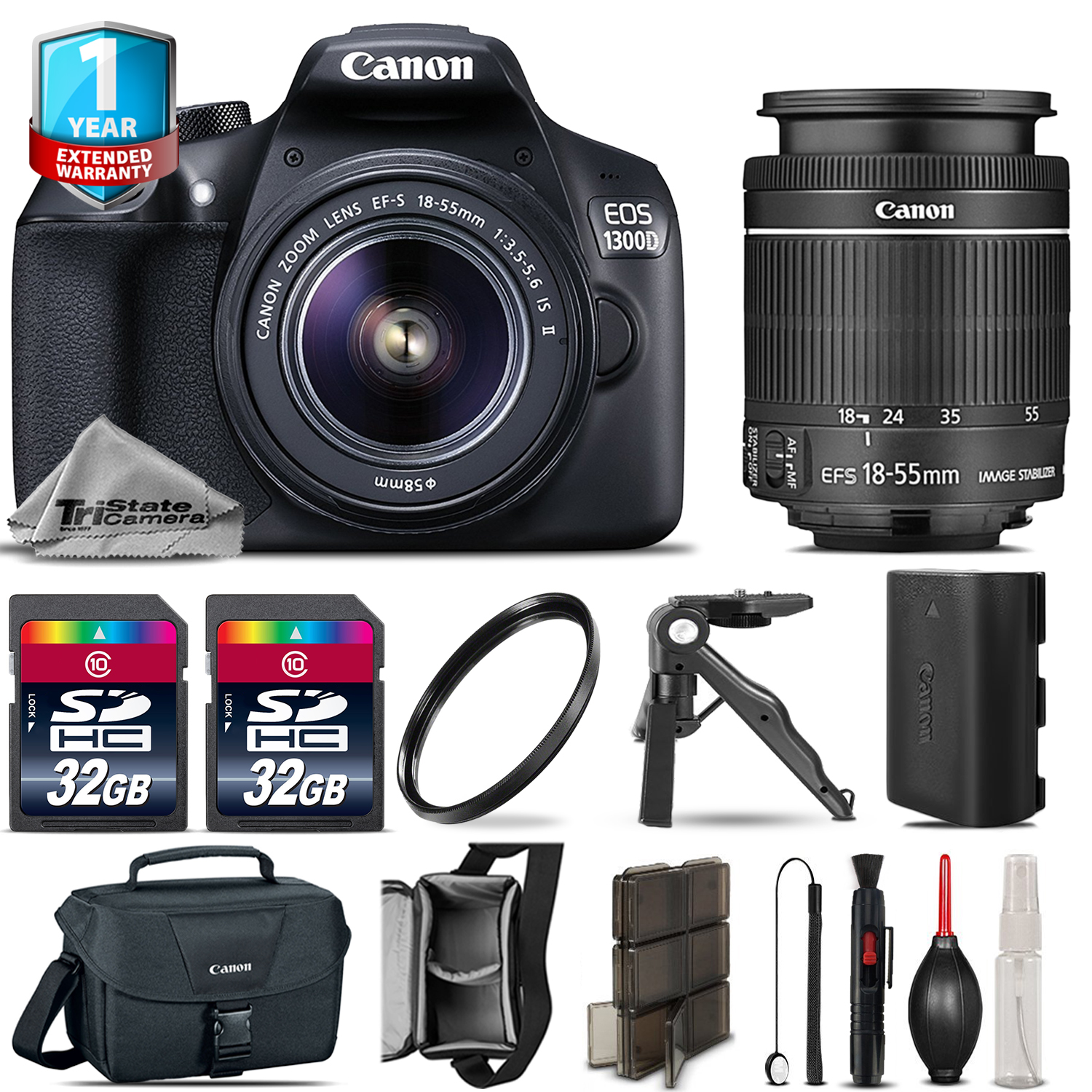 EOS Rebel 1300D / T6 DSLR Camera + 18-55mm IS + 1yr Warranty - 64GB Kit *FREE SHIPPING*