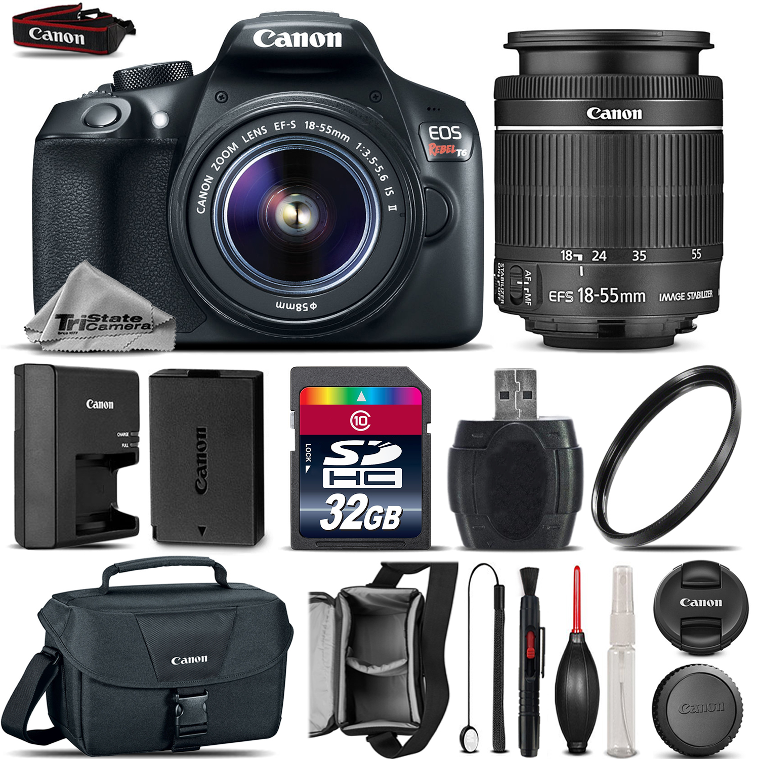 EOS Rebel T6 1300D Camera + 18-55mm IS Lens + Canon Case + UV - 32GB Kit *FREE SHIPPING*