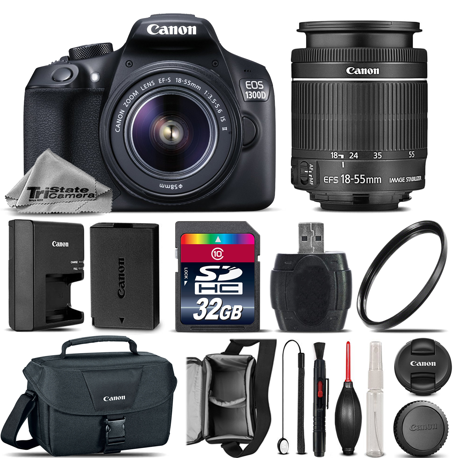 EOS Rebel T6 / 1300D Camera + 18-55mm IS II Lens + Canon Case - 32GB Kit *FREE SHIPPING*