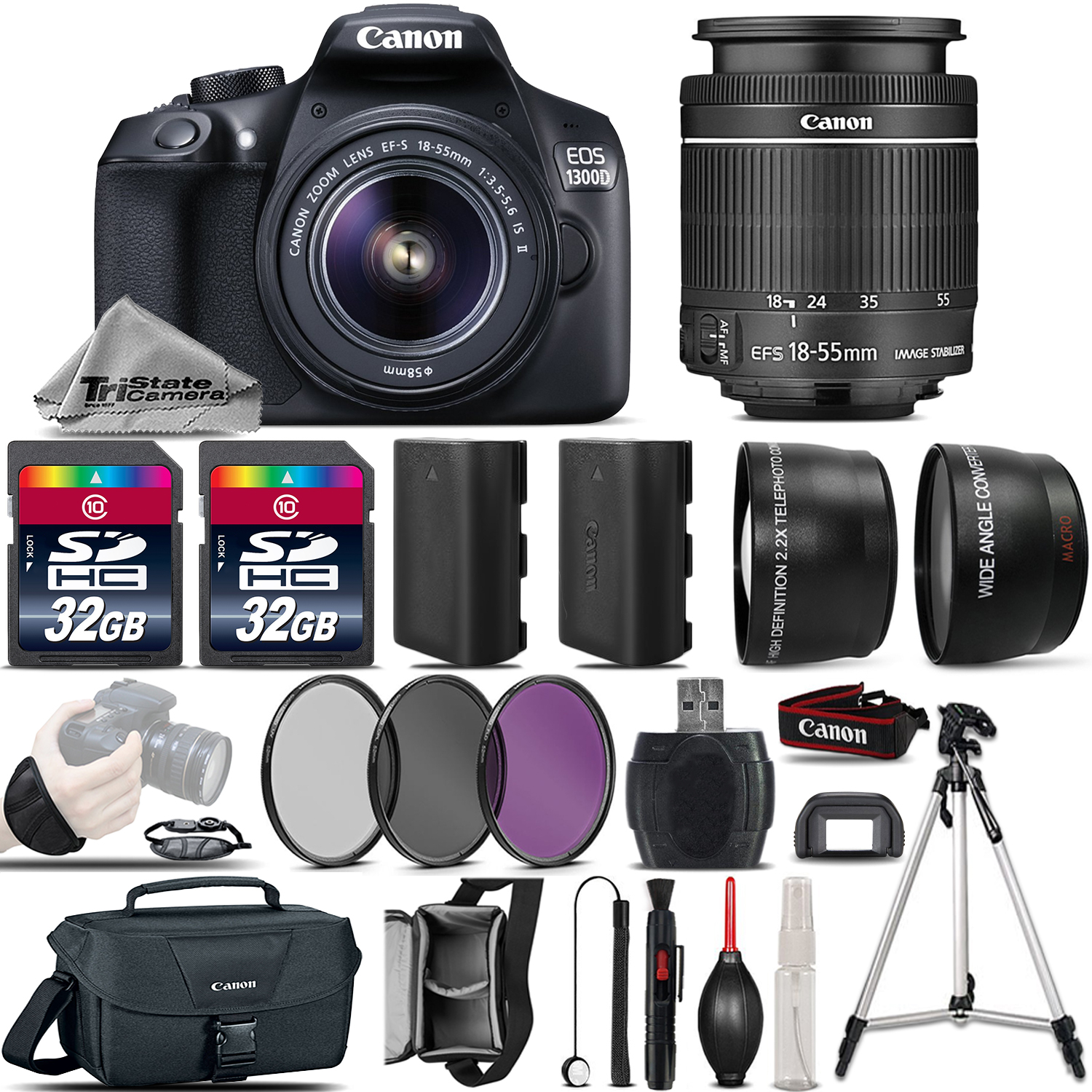 EOS Rebel 1300D Camera + 18-55mm IS II Lens + 64GB + EXTRA BATT & More! *FREE SHIPPING*