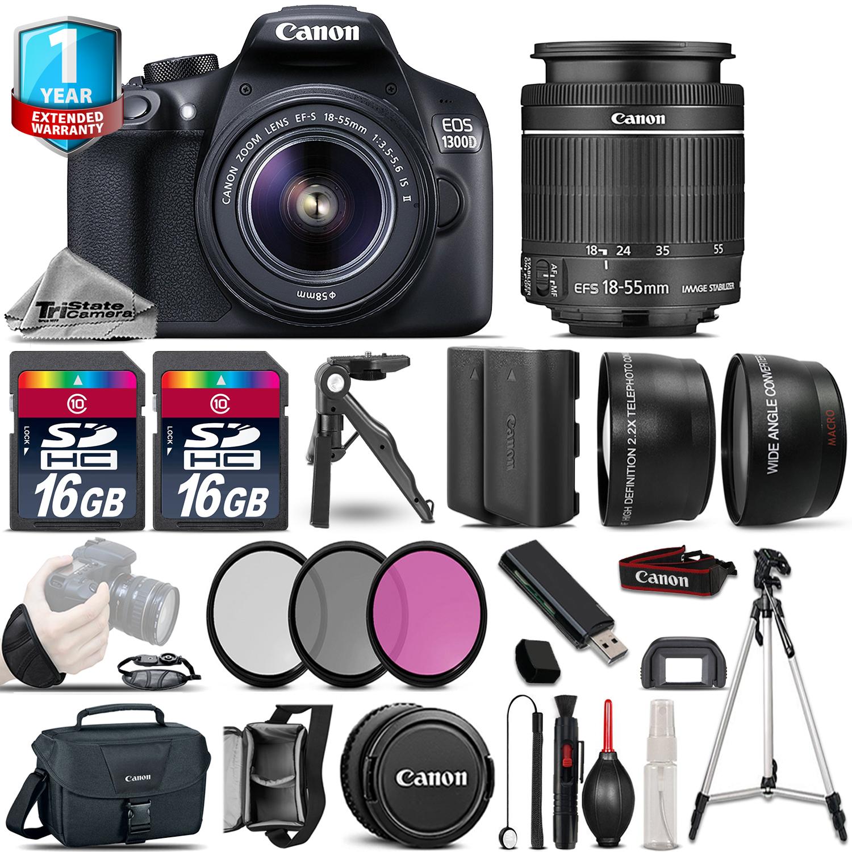 EOS Rebel 1300D Camera + 18-55mm IS - 3 Lens Kit + EXT BAT + 1yr Warranty *FREE SHIPPING*