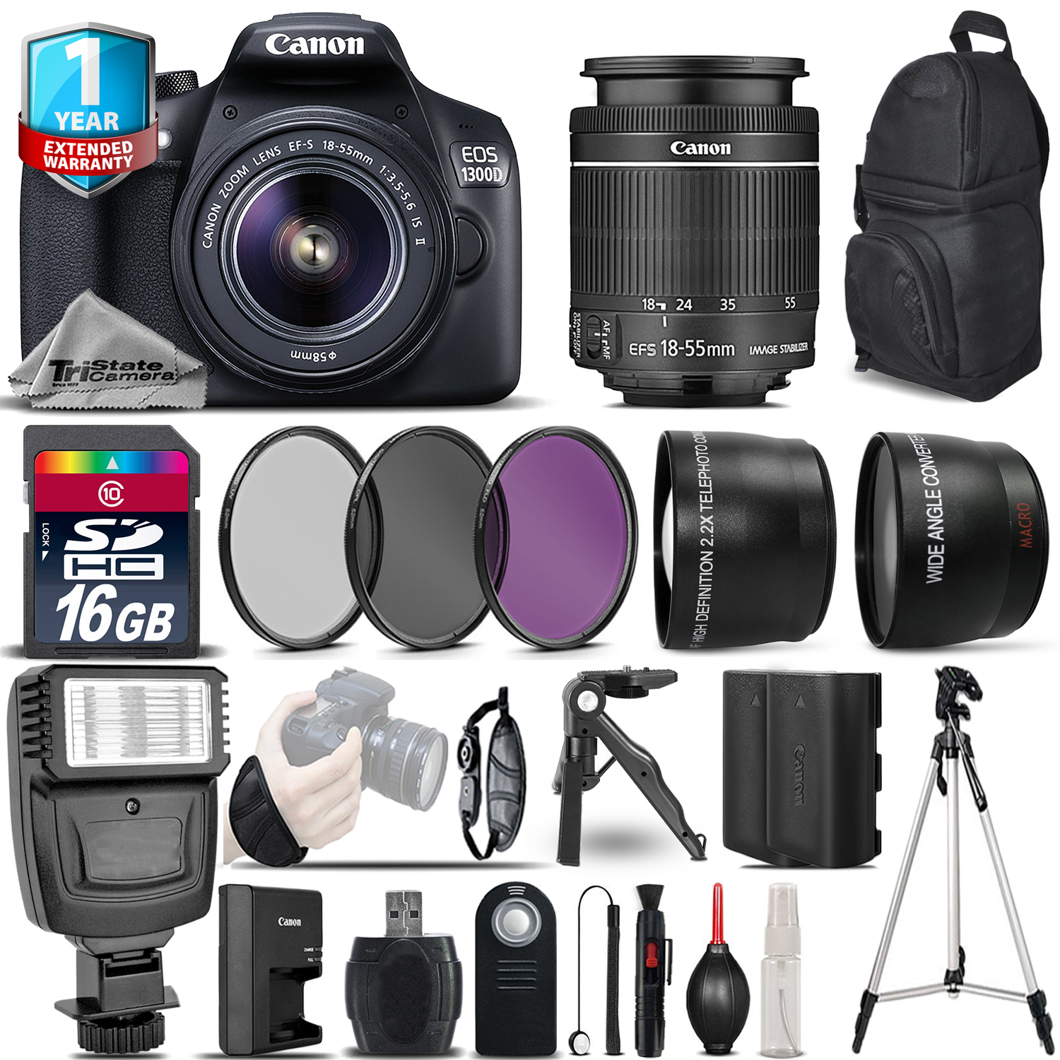 EOS Rebel 1300D / T6 Camera + 18-55mm IS II + 1yr Warranty - Saving Bundle *FREE SHIPPING*