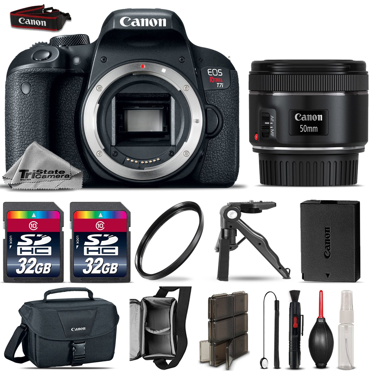 EOS Rebel T7i DSLR Camera 800D + 50mm 1.8 STM + Tripod Grip + 64GB + More! *FREE SHIPPING*