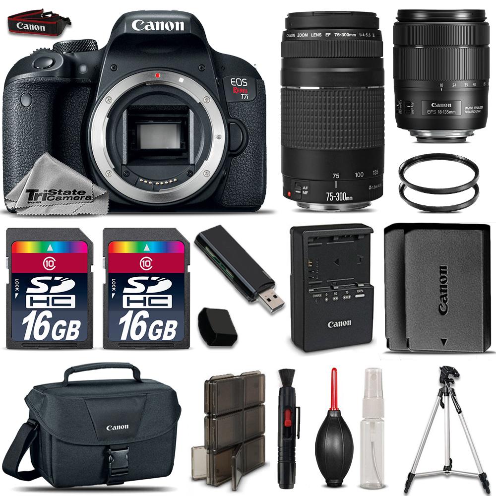 EOS Rebel T7i DSLR Camera + 18-135mm USM  + 75-300mm III + EXT BATT + 32GB *FREE SHIPPING*