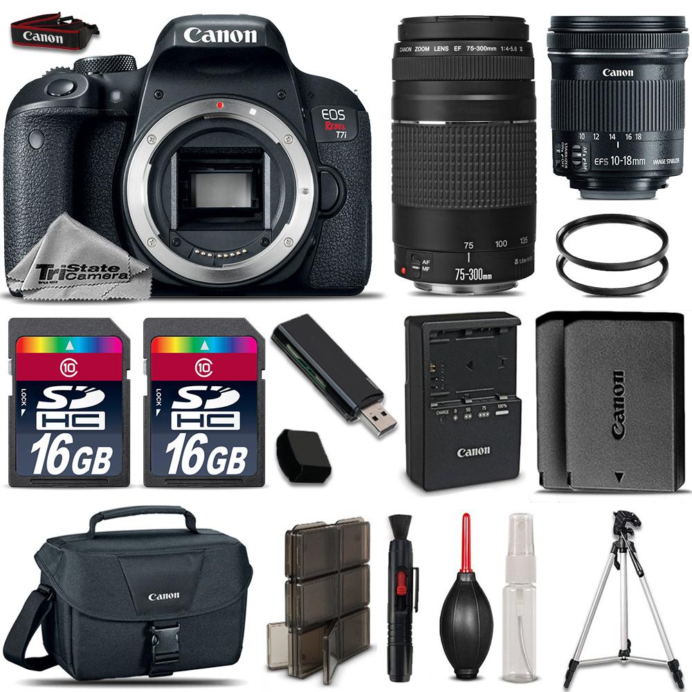 EOS Rebel T7i DSLR Camera + 10-18mm STM  + 75-300mm III + EXT BATT + 32GB *FREE SHIPPING*