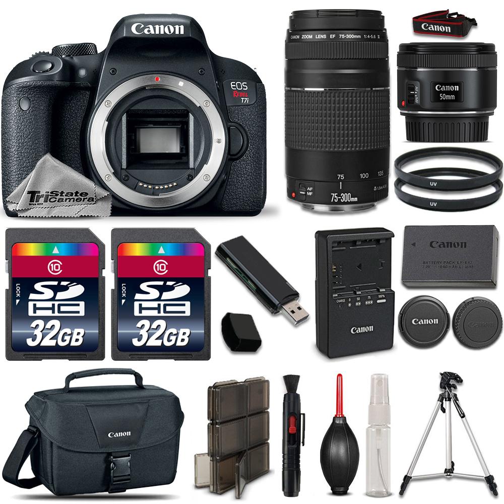 EOS Rebel T7i Camera + 50mm 1.8  STM Lens + 75-300mm + 64GB LOADED Bundle *FREE SHIPPING*