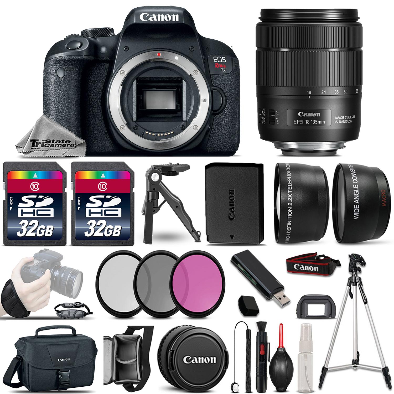 EOS Rebel T7i DSLR Camera 1894C001 +18-135mm USM -3 Lens Kit + 64GB & More *FREE SHIPPING*