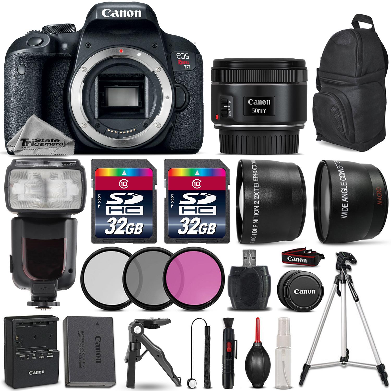 EOS Rebel T7i DSLR Camera 800D + 50mm 1.8 STM + Flash + 64GB + Tripod Grip *FREE SHIPPING*