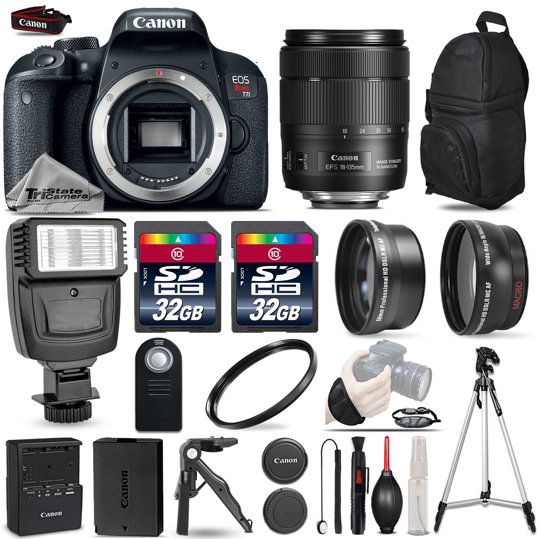 EOS Rebel T7i DSLR Camera + 18-135mm IS USM + Flash + 64GB - 3 Lens Bundle *FREE SHIPPING*