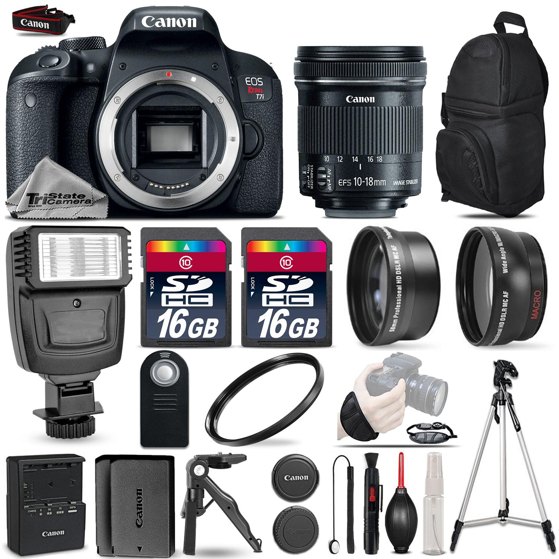 EOS Rebel T7i DSLR Camera + 10-18mm IS STM + Pro Flash + 32GB - 3 Lens Kit *FREE SHIPPING*