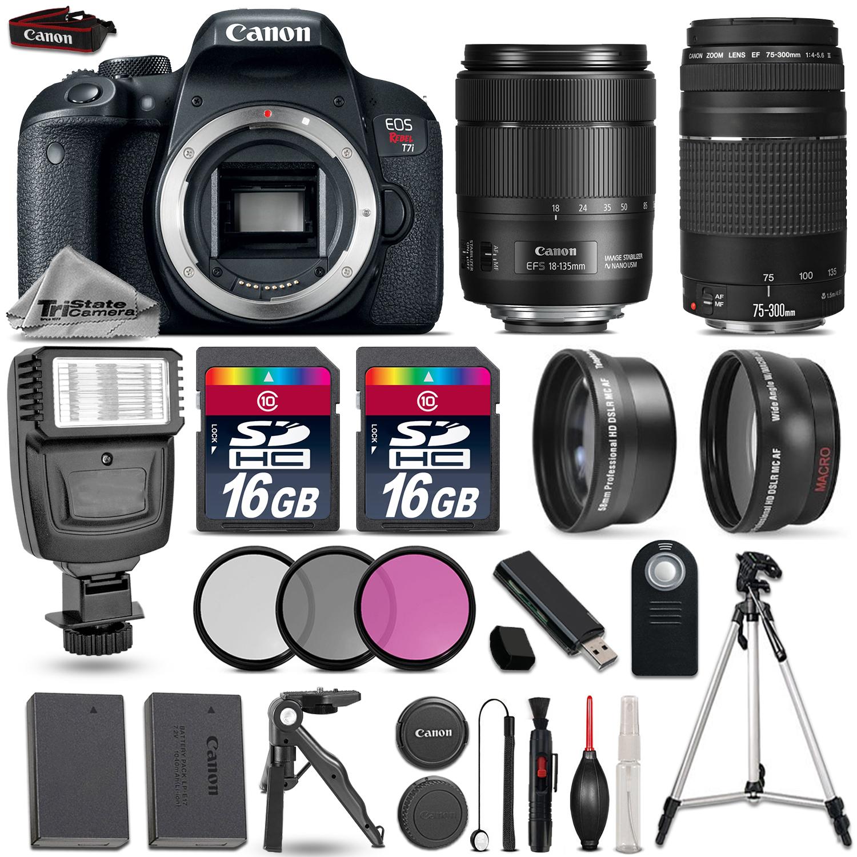 EOS Rebel T7i DSLR Camera + 18-135mm USM + 75-300mm III + EXT BATT + Flash *FREE SHIPPING*