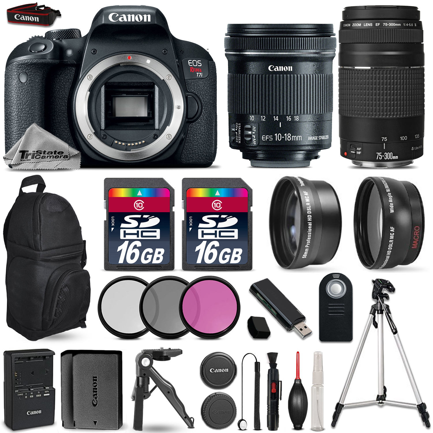 EOS Rebel T7i Camera + 10-18mm STM + 75-300mm + EXT BAT + Backpack + 32GB *FREE SHIPPING*