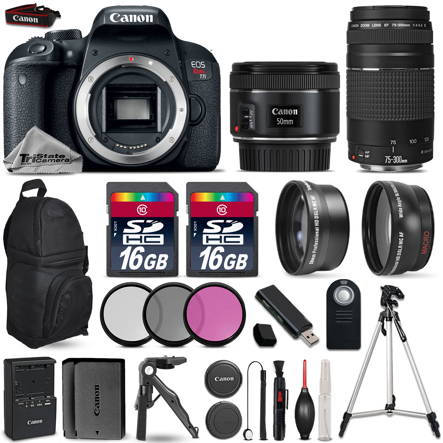 EOS Rebel T7i Camera + 50mm 1.8 STM + 75-300mm + EXT BAT + Backpack + 32GB *FREE SHIPPING*