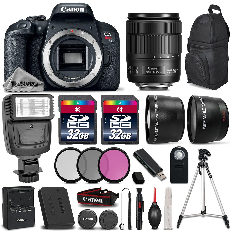 EOS Rebel T7i DSLR Camera + 18-135mm IS USM + Flash + 64GB + Filter Kit *FREE SHIPPING*