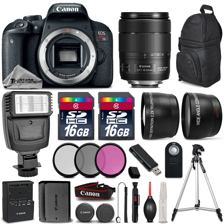 EOS Rebel T7i Camera 1894C001 + 18-135mm USM + Flash + EXT BATT - 32GB Kit *FREE SHIPPING*