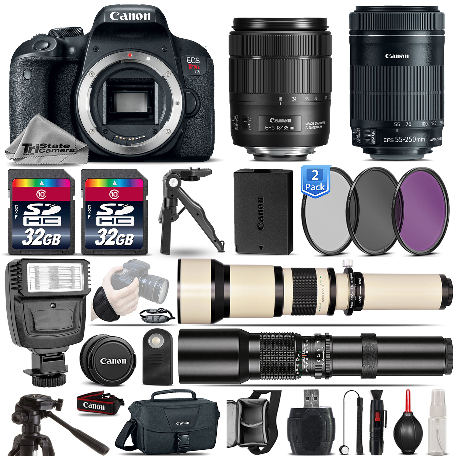 EOS Rebel T7i DSLR Camera + 18-135mm IS USM + 55-250mm USM Lens - 64GB Kit *FREE SHIPPING*
