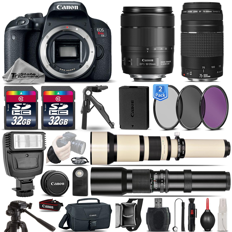 EOS Rebel T7i DSLR Camera + 18-135mm IS USM + 75-300mm Lens - 64GB Bundle *FREE SHIPPING*