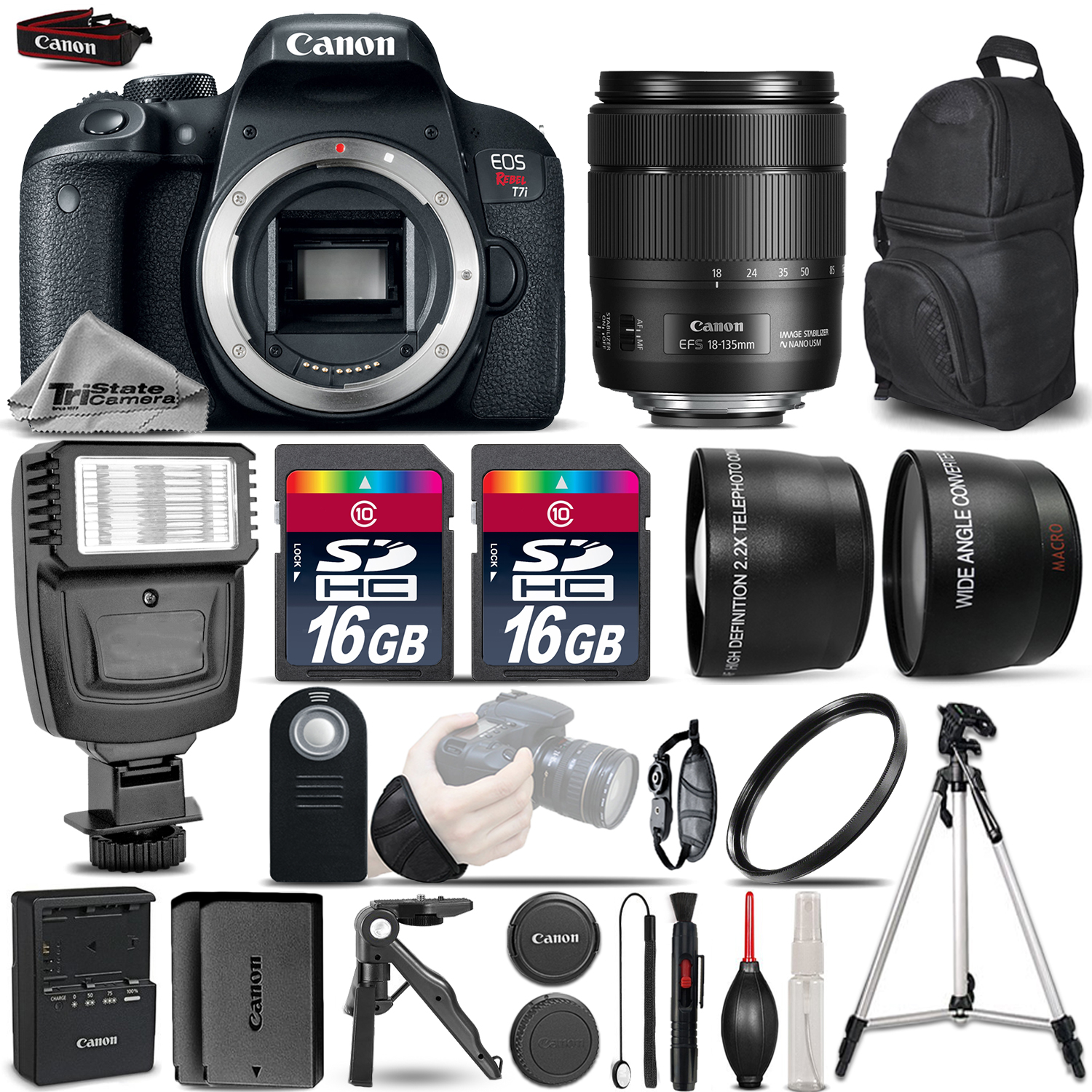 EOS Rebel T7i DSLR Camera + 18-135mm IS USM + Flash + 32GB + Extra Battery *FREE SHIPPING*