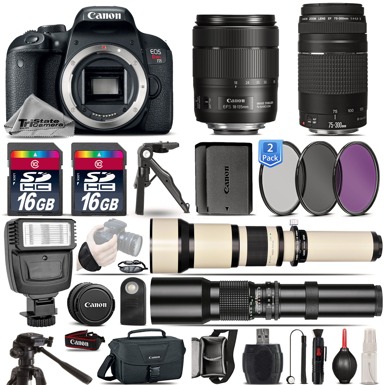 EOS Rebel T7i Camera + 18-135mm IS USM + 75-300mm III + EXT BAT - 32GB Kit *FREE SHIPPING*