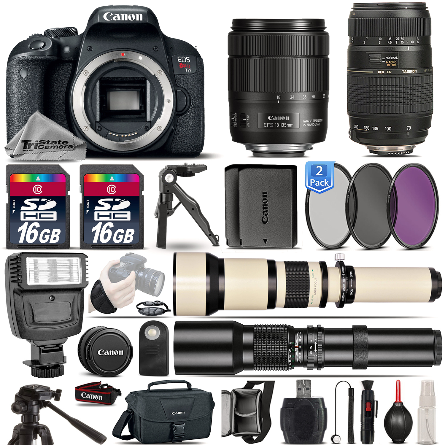 EOS Rebel T7i DSLR Camera + 18-135mm USM + 70-300mm + EXT BATT - 32GB Kit *FREE SHIPPING*