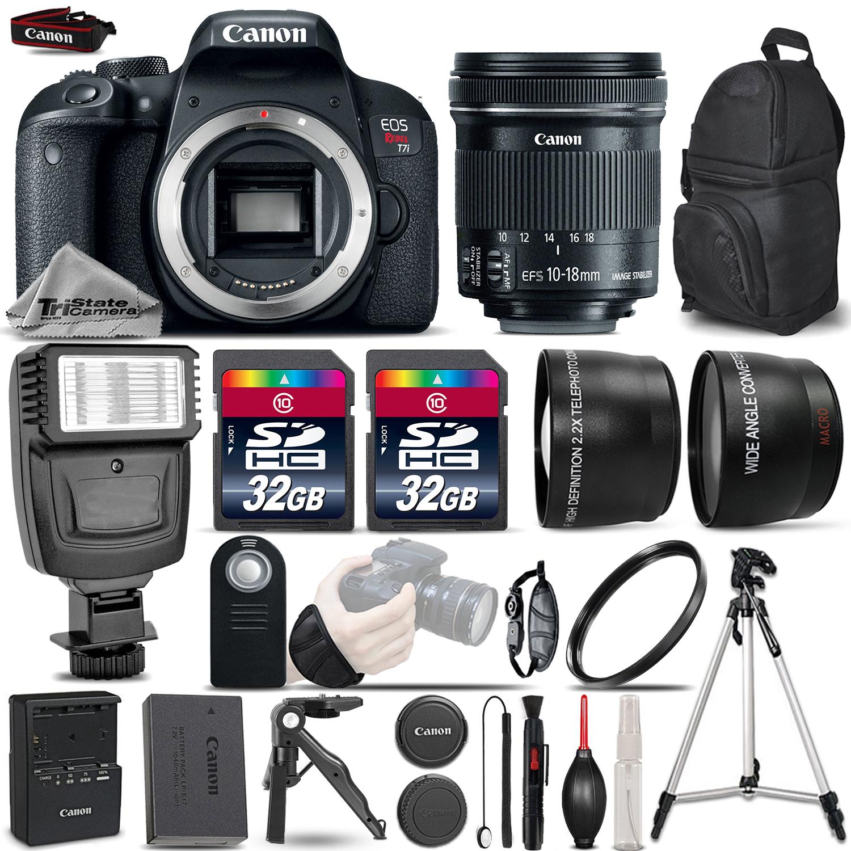 EOS Rebel T7i DSLR Camera + 10-18mm IS - 3 Lens Kit + Flash + 64GB Bundle *FREE SHIPPING*