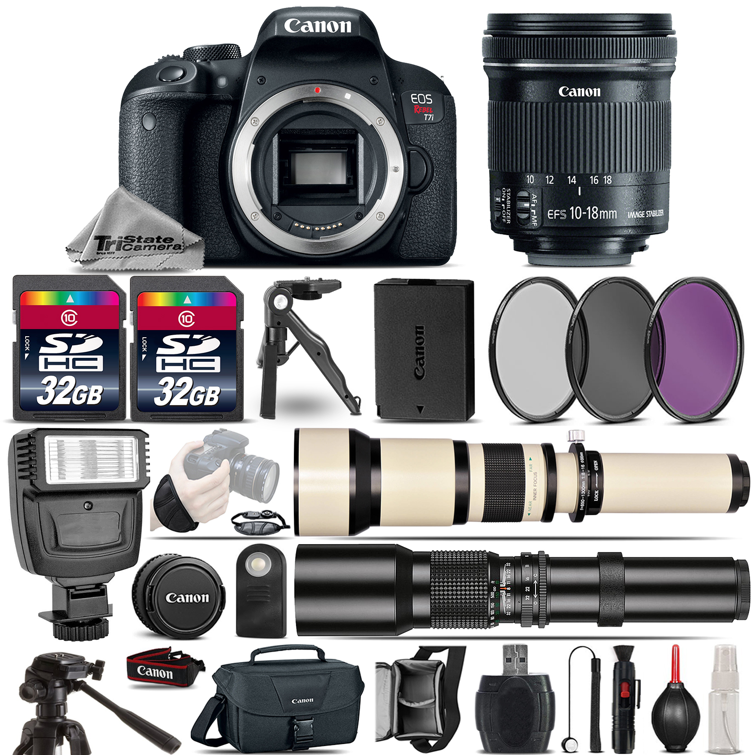 EOS Rebel T7i DSLR Camera + 10-18mm IS + 650-1300mm +500mm Lens - 64GB Kit *FREE SHIPPING*