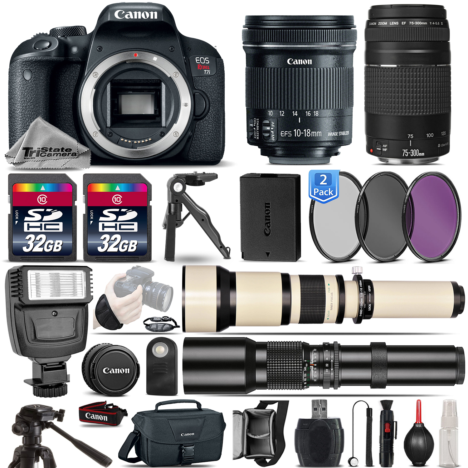 EOS Rebel T7i DSLR Camera + 10-18mm IS STM + 75-300mm Lens - 64GB Bundle *FREE SHIPPING*