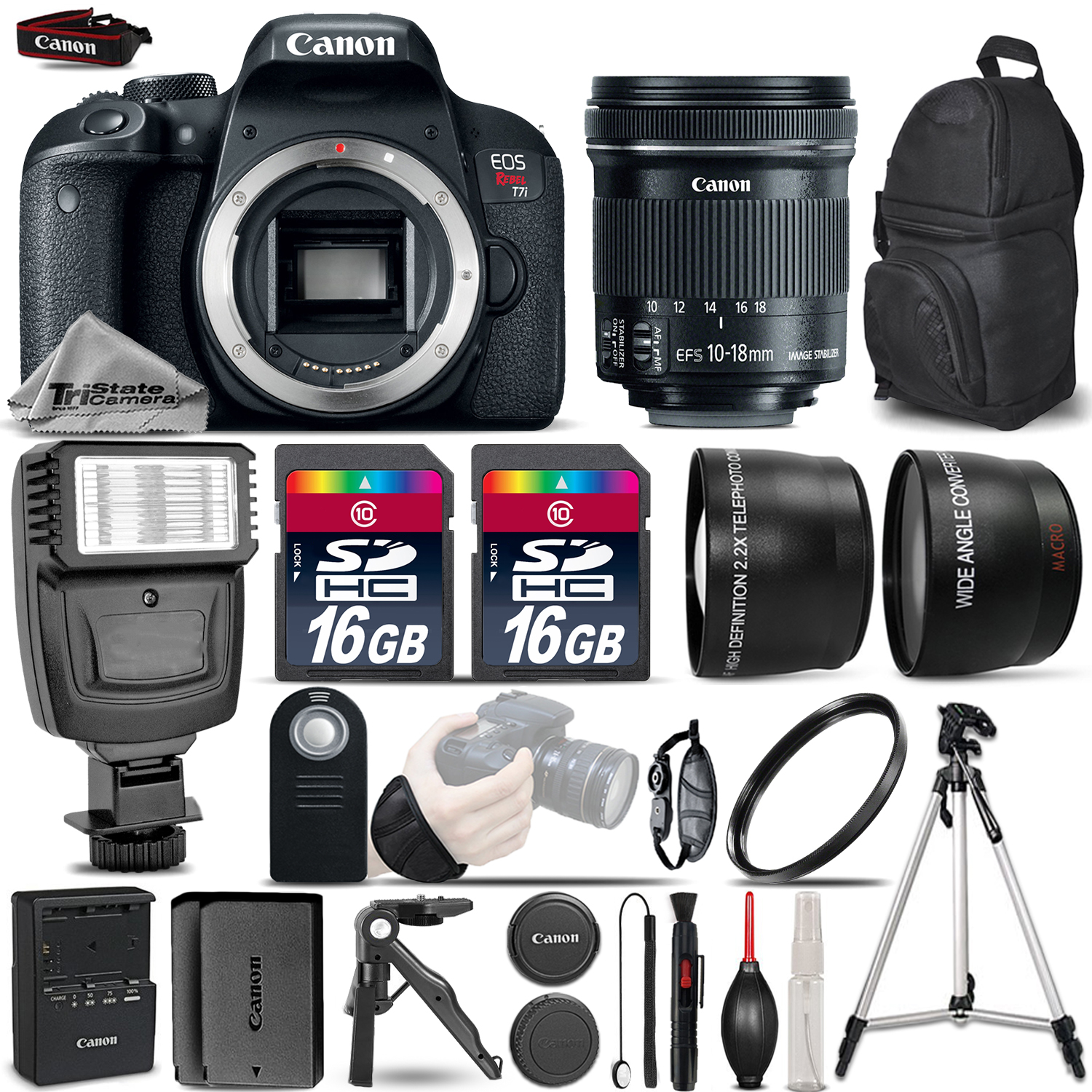 EOS Rebel T7i DSLR Camera + 10-18mm IS STM + Flash + 32GB + Extra Battery *FREE SHIPPING*