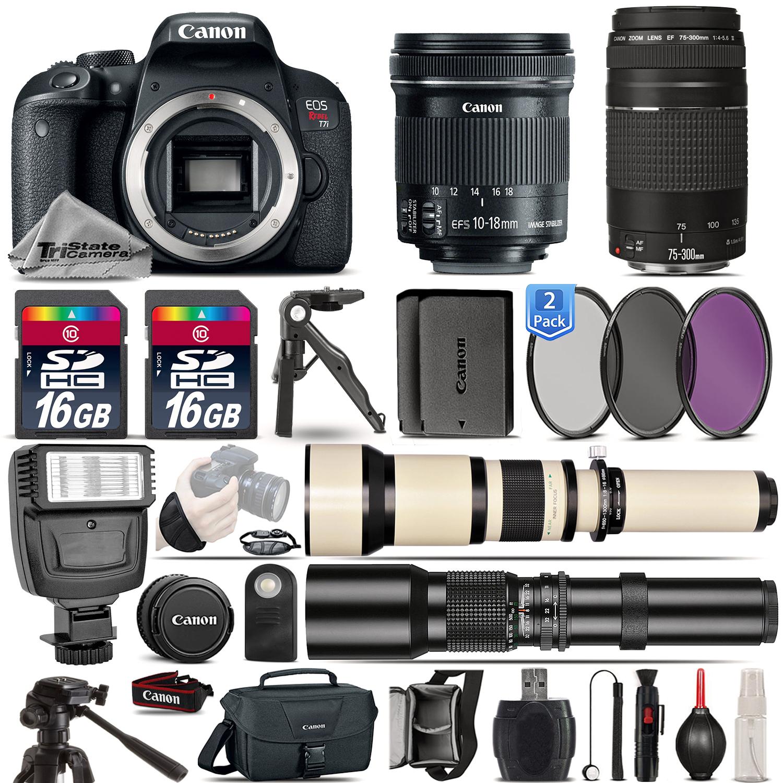 EOS Rebel T7i Camera + 10-18mm IS STM + 75-300mm III + EXT BATT - 32GB Kit *FREE SHIPPING*