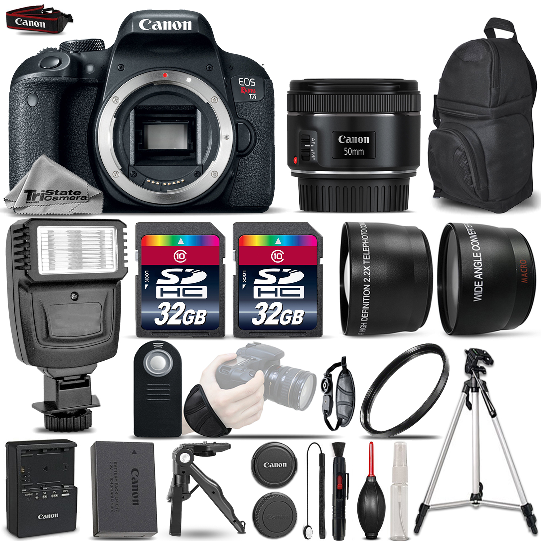 EOS Rebel T7i SLR Camera 800D + 50mm 1.8 -3 Lens Kit + Flash+ 64GB &MORE *FREE SHIPPING*