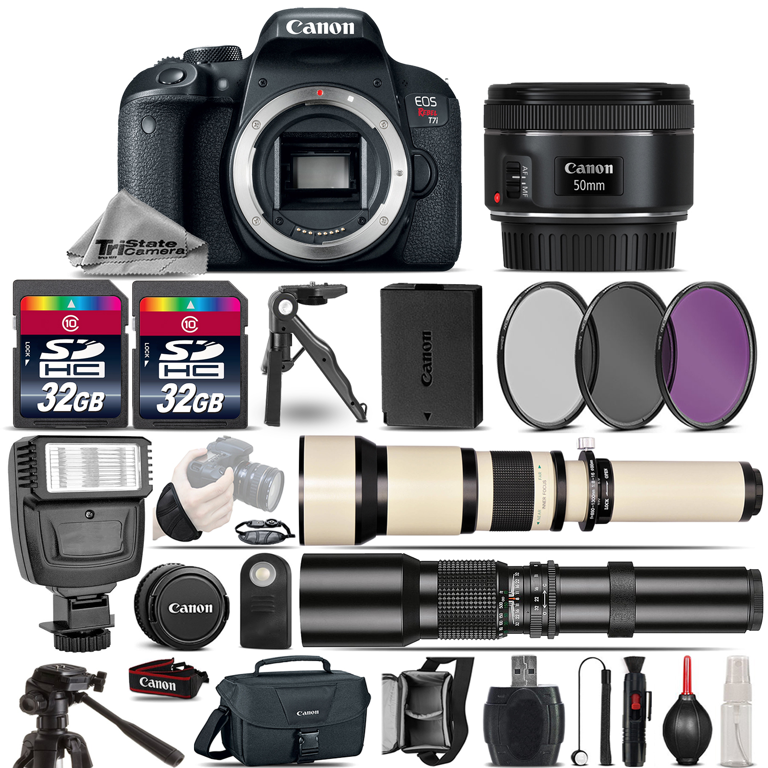 EOS Rebel T7i SLR Camera 800D + 50mm 1.8 + 650-1300mm + 500mm - 64GB Kit *FREE SHIPPING*