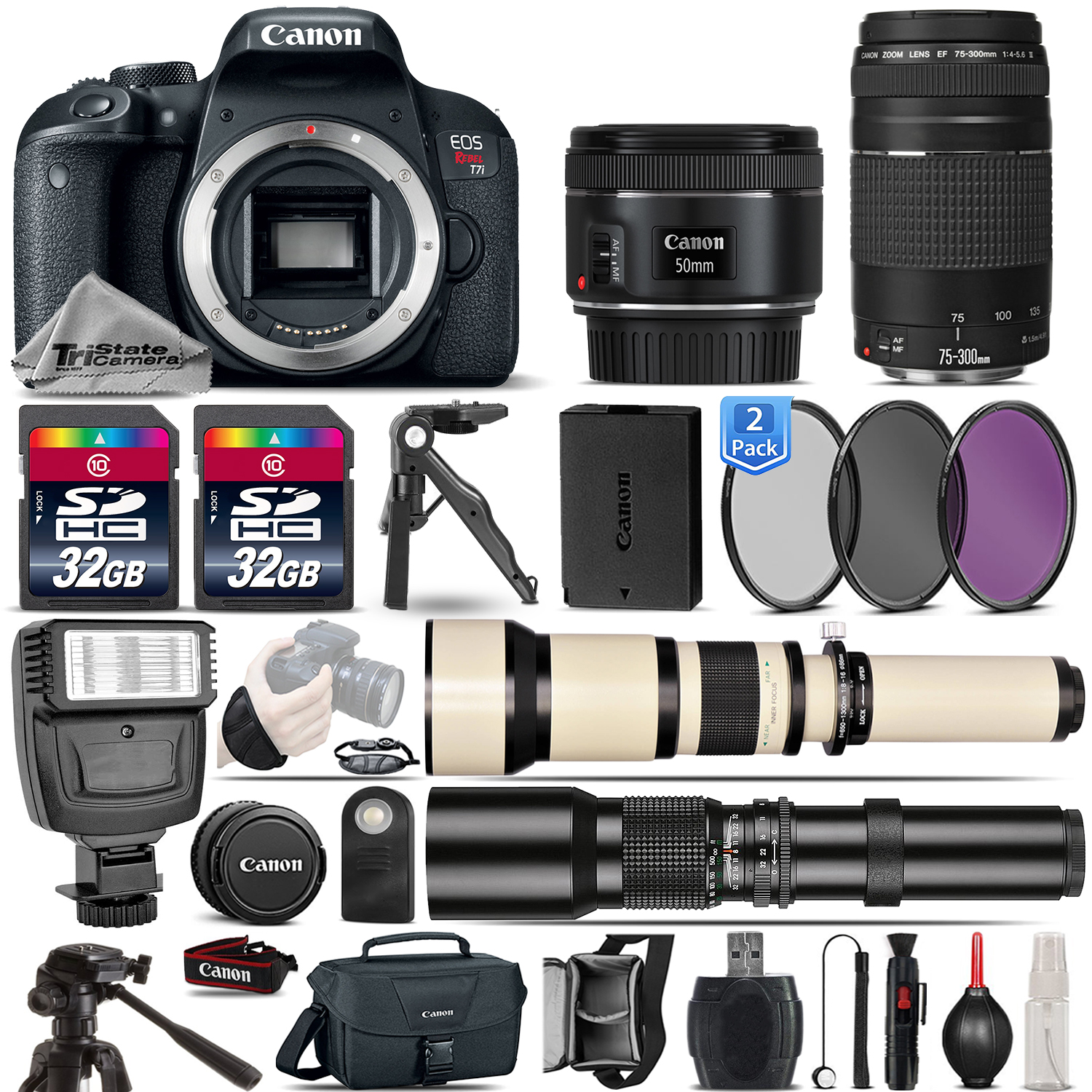 EOS Rebel T7i SLR Camera 800D + 50mm 1.8 + 75-300mm III Lens - 64GB Kit *FREE SHIPPING*