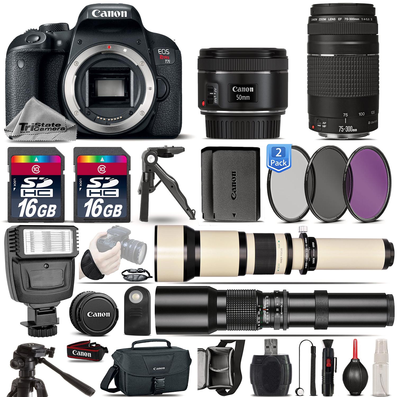 EOS Rebel T7i  Camera 800D + 50mm 1.8 + 75-300mm III + EXT BATT - 32GB Kit *FREE SHIPPING*