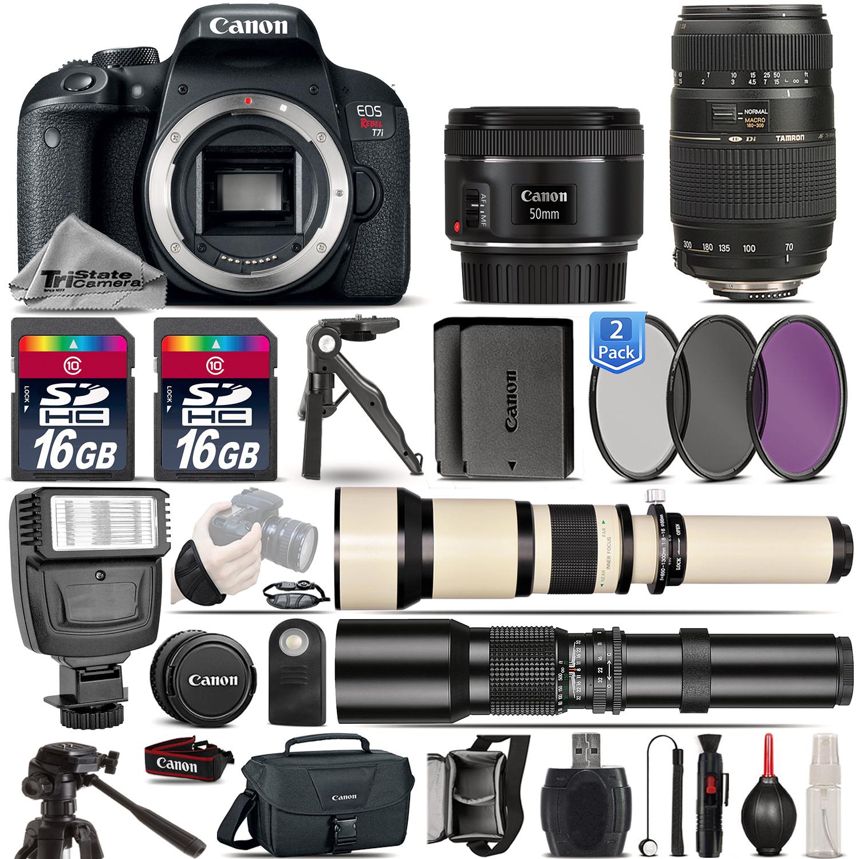 EOS Rebel T7i SLR Camera 800D + 50mm 1.8 + 70-300mm + EXT BATT - 32GB Kit *FREE SHIPPING*