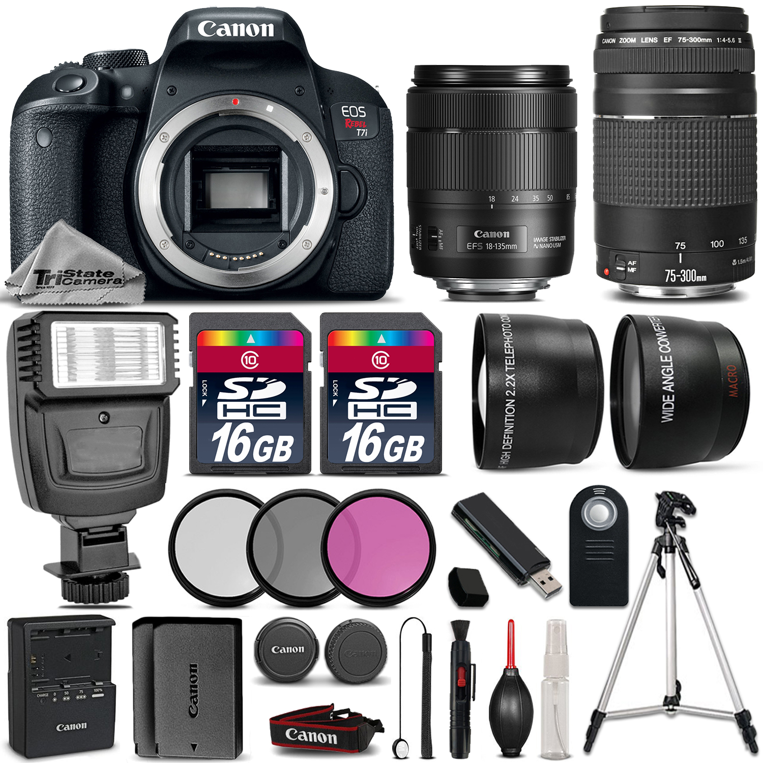 EOS Rebel T7i Camera + 18-135mm USM + 75-300mm III + 32GB + Flash +EXT BAT *FREE SHIPPING*