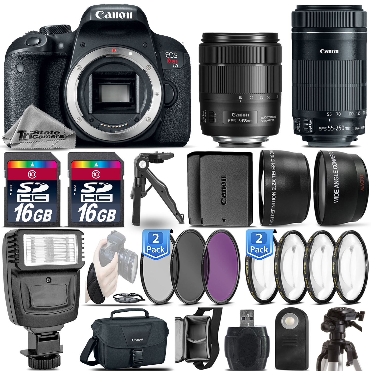EOS Rebel T7i DSLR Camera + 18-135mm USM + 55-250mm IS + EXT BAT -32GB Kit *FREE SHIPPING*
