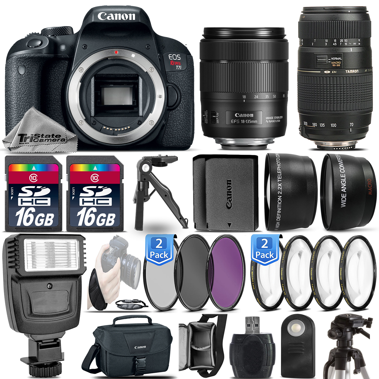EOS Rebel T7i DSLR Camera + 18-135mm USM + 70-300mm + EXT BAT - 32GB Kit *FREE SHIPPING*