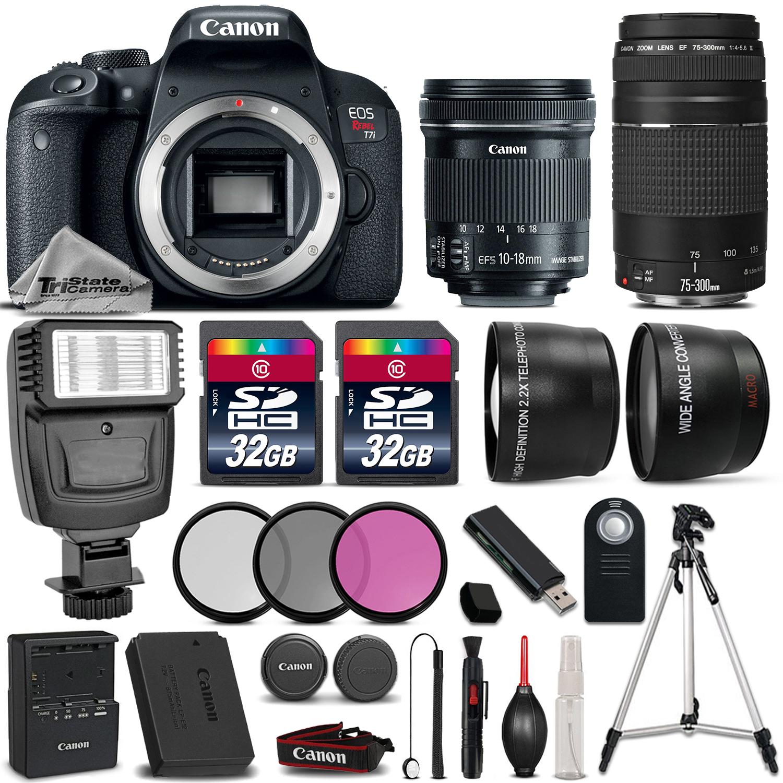 EOS Rebel T7i DSLR Camera + 10-18mm IS STM + 75-300mm III + 64GB + Flash *FREE SHIPPING*
