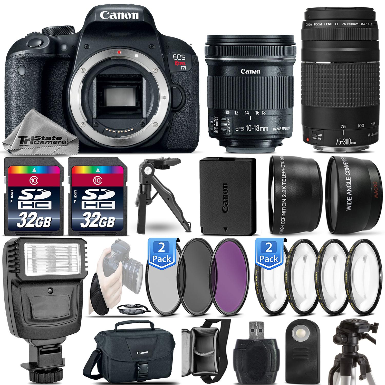 EOS Rebel T7i DSLR Camera 1894C001 + 10-18mm IS STM + 75-300 III -64GB Kit *FREE SHIPPING*
