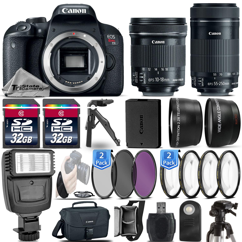 EOS Rebel T7i DSLR Camera + 10-18mm IS STM + 55-250mm IS STM - 64GB Kit *FREE SHIPPING*