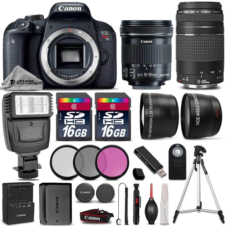 EOS Rebel T7i Camera + 10-18mm STM + 75-300mm III + 32GB + Flash +EXT BATT *FREE SHIPPING*