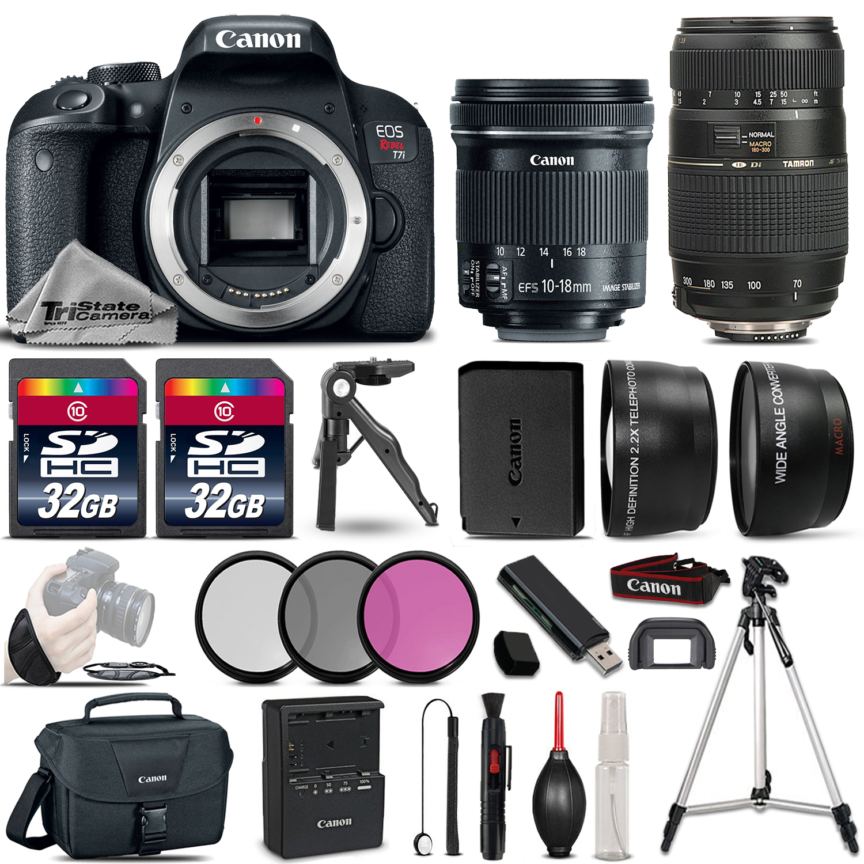EOS Rebel T7i DSLR Camera 1894C001 & 10-18mm IS STM & 70-300mm Lens Bundle *FREE SHIPPING*