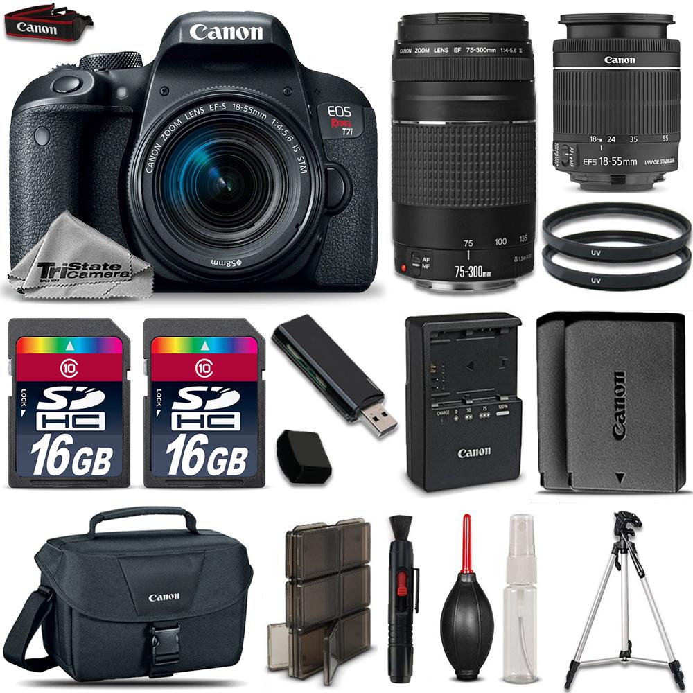 EOS Rebel T7i Camera + 18-55mm STM + 75-300mm III + EXT BATT + 32GB Bundle *FREE SHIPPING*