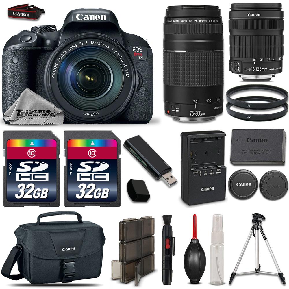 EOS Rebel T7i DSLR Camera  + 18-135mm STM + 75-300mm III + 64GB Bundle *FREE SHIPPING*